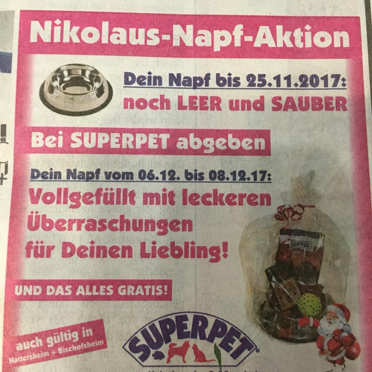 Nikolaus Napf Aktion bei SUPERPET bis 25.11.2017 in Mainz Bischofsheim Hattersheim Katzen Hunde Futter kostenlos