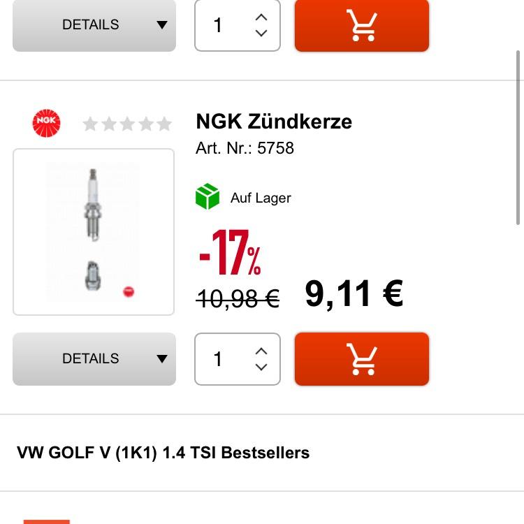 17% Rabatt bei autoersatzteile.de NGK Zündkerze z.B. für Golf 6