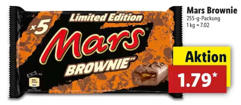 [LIDL] Die neuen Mars Brownie 5er-Packungen mit  255g für 1,79€