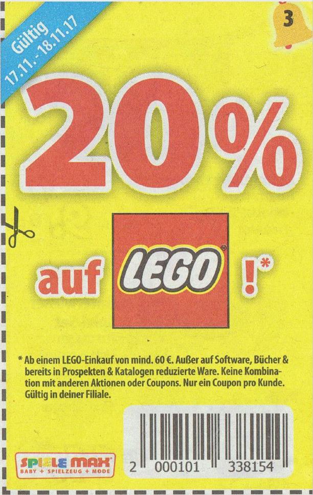 Offline: Spiele Max 20% auf Lego MBW 60€