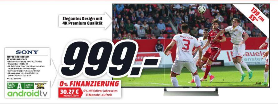 [Regional Mediamarkt Köln City am Dom] Sony KD-55XE9005 - Fernseher 55'' 4K HDR LED Android TV (Motionflow XR 1000 Hz, X-tended Dynamic Range PRO, 4K HDR Processor X1, TRILUMINOS Display, Wi-Fi), schwarz für 999,-€