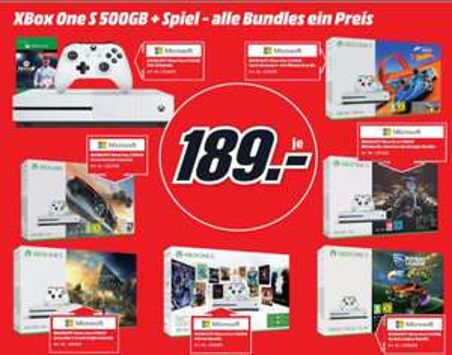 [Regional Mediamarkt Köln City am Dom] Alle Xbox One S, 500GB Konsolenbundles mit 1 Spiel für je 189,-€. Zb...FIFA18 Bundle,Mittelerde Bundle,AC.Origins Bundle etc