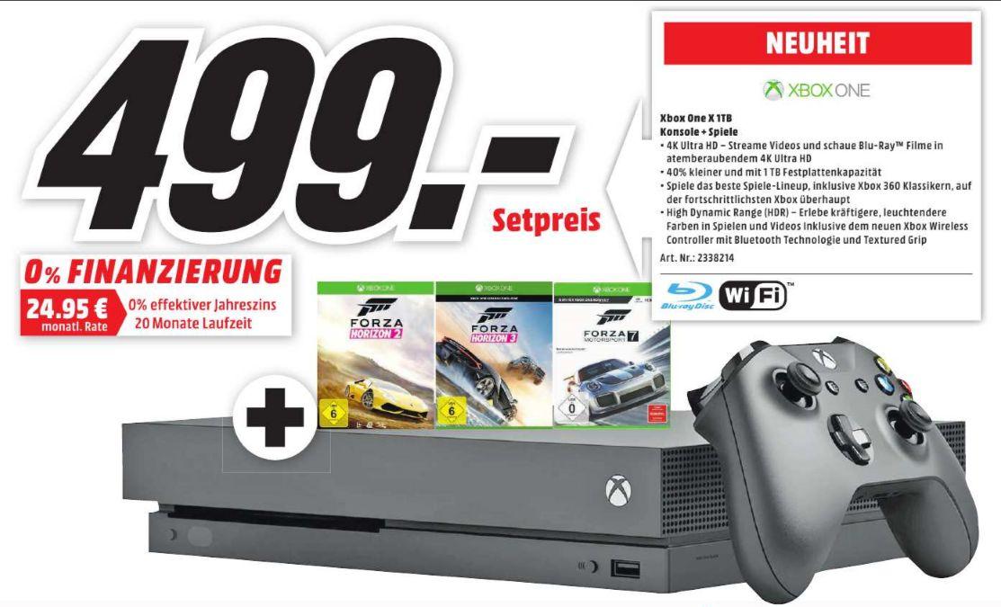 [Regional Mediamarkt Main Taunus] Microsoft Xbox One X 1TB schwarz inc. Forza Horizon 2, Forza Horizon 3 und Forza 7 für 499,-€