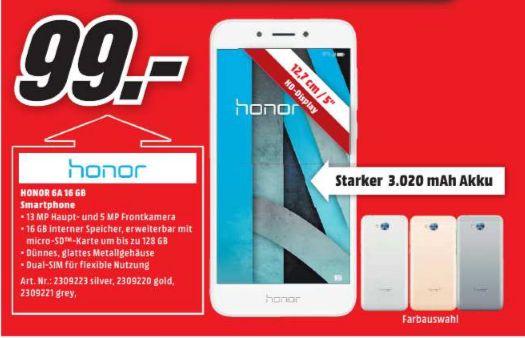[Regional Mediamarkt Main Taunus] Honor 6A Smartphone 12,7cm/5 Android 7.0 13MP 16GB Dual-SIM in 3 Farben für je 99,-€
