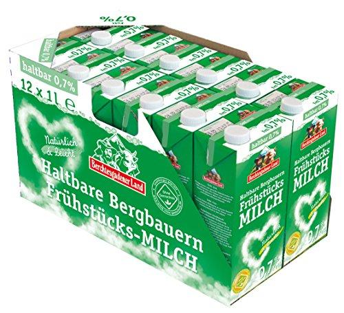 Amazon 12 x 1 Liter Berchtesgadener Land Haltbare Frühstücksmilch, 0.7% Fett