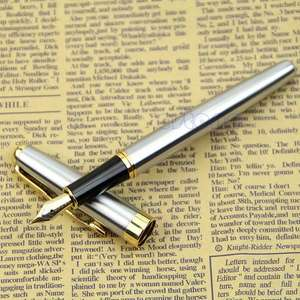 "Füllfederhalter ""Classic BAOER 388 Stainless Steel Fountain Pen Silver Golden Trim M Nib"""