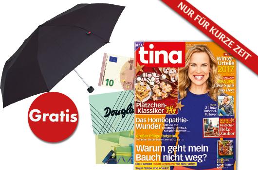Tina Halbjahresabo (26 Ausgaben) für 37,70€ mit 10 € Gutschein mit Knirps i.W.V. 25€