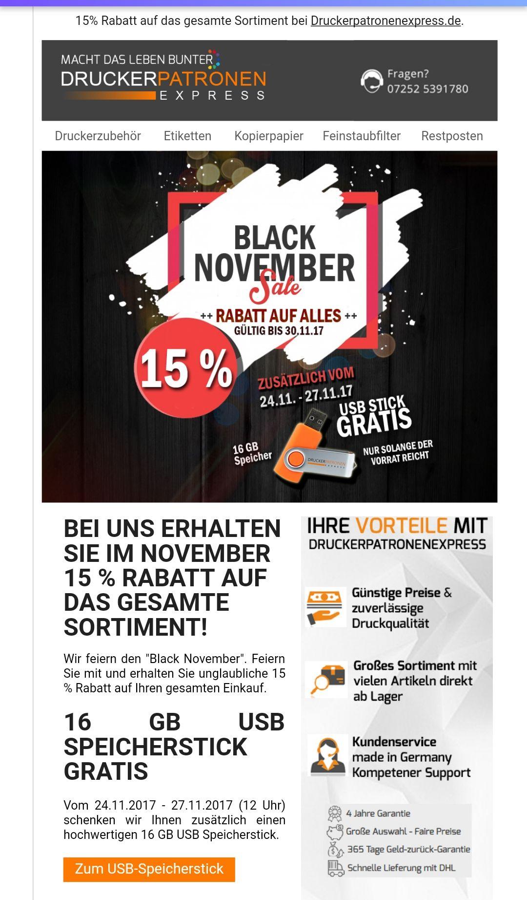 "[Druckerpatronenexpress.de] ""Black November"" 15% Rabatt auf alles bis zum 30.11."