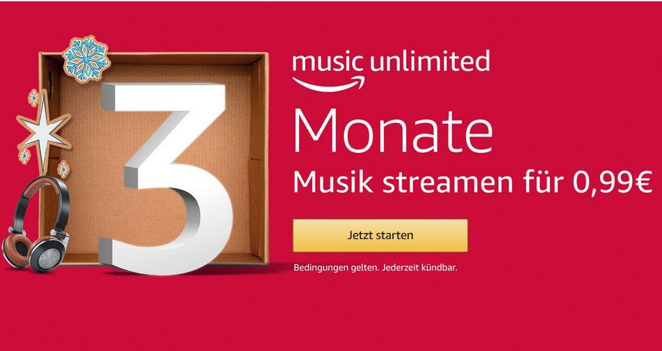 3 Monate Amazon Music Unlimited (jederzeit kündbar)