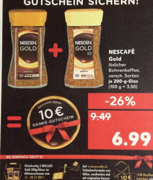 (Kaufland) 2x Nescafé Gold kaufen 10€ Gutschein erhalten