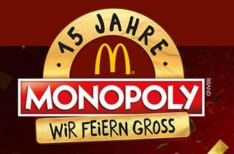McDonald's - 15 Jahre Monopoly Gewinnspiel ab dem 16.11 - 03.01 + Geheimtrick (Telefonhotline)