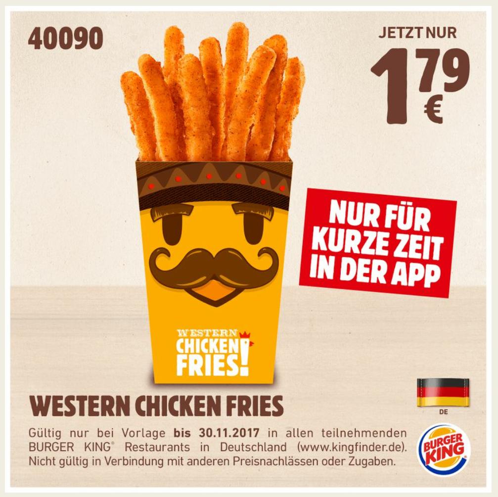 Burger King: Western Chicken Fries für 1,79€ (bis 11.2.2018)