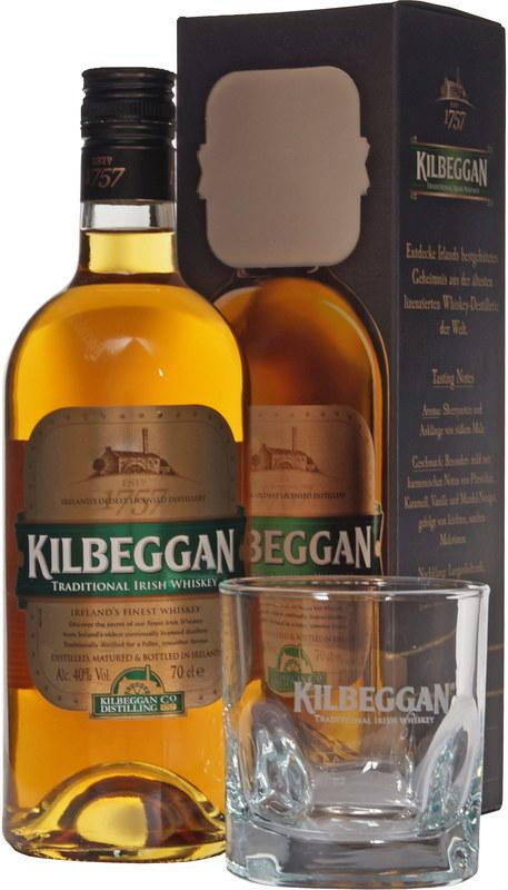 Kilbeggan Irish Whiskey mit Tumbler