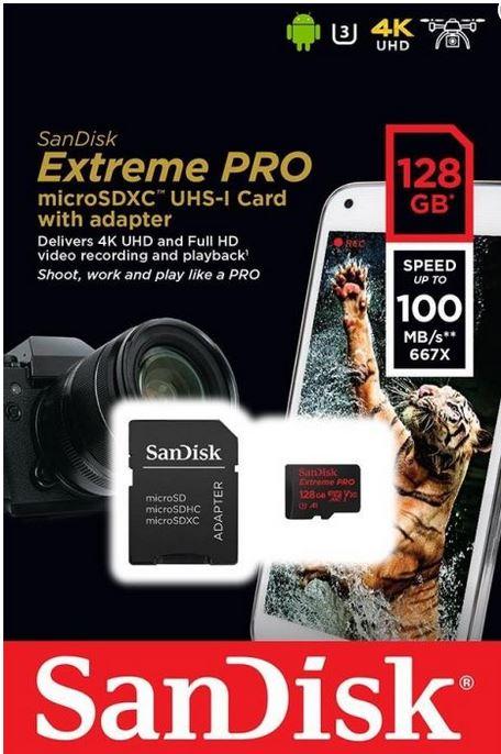 128GB SanDisk Extreme Pro Micro-SD mit Adapter und RescuePRO Deluxe