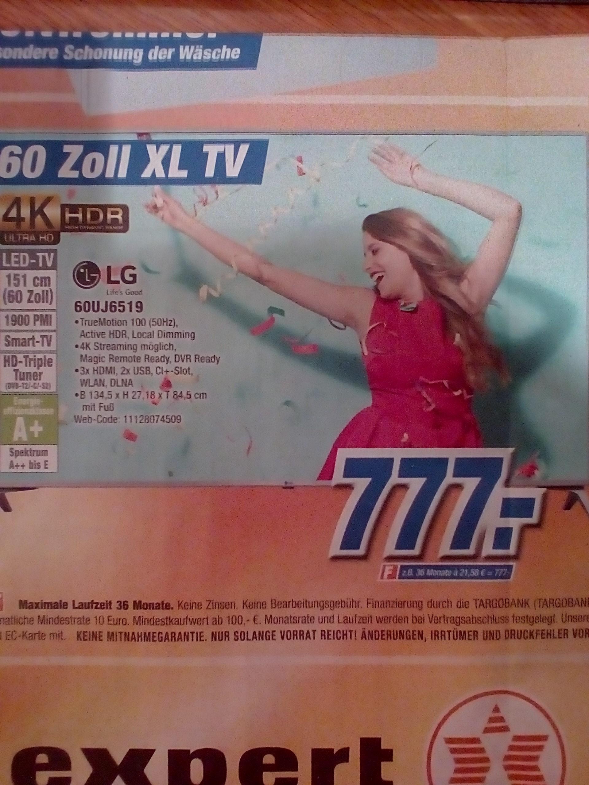 [Lokal Plz 47475] Fernseher LCD-TV LG 60UJ6519 für 777,-€
