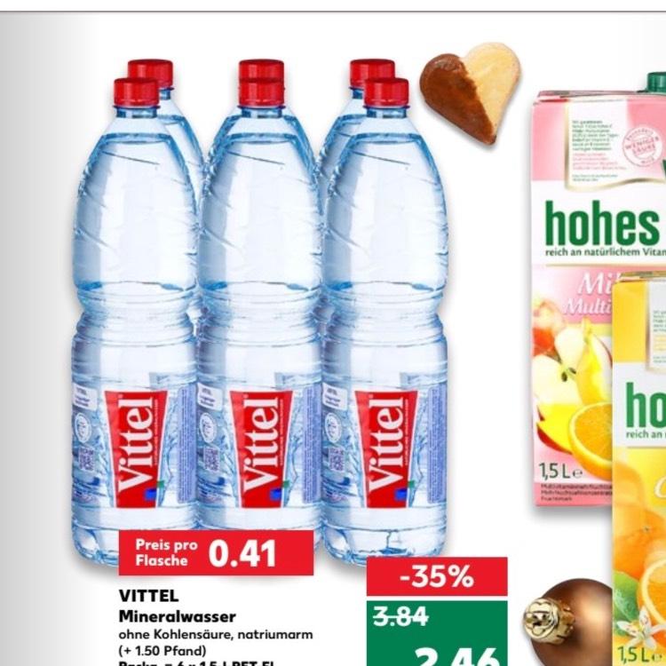 Vittel Stilles Mineralwasser 6x1,5l bei Kaufland  2,69 euro , 0,41 cent flasche