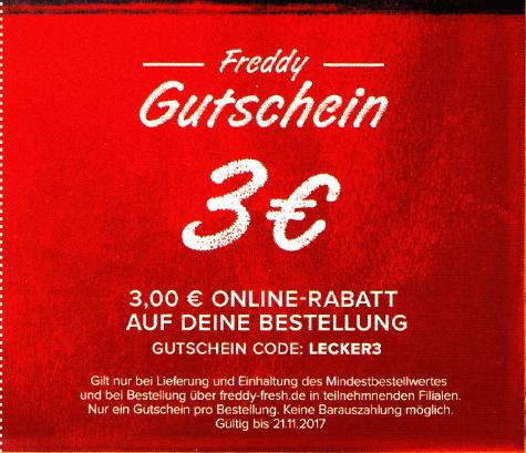 Freddy Fresh Onlinebestellung 3€ Gutschein [mind. 7.50MBW]