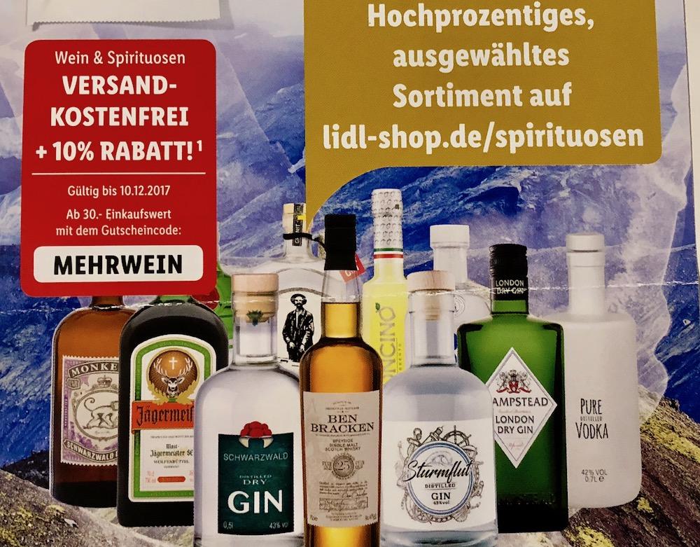 -10% + kostenloser Versand bei Lidl für Wein und Spirituosen