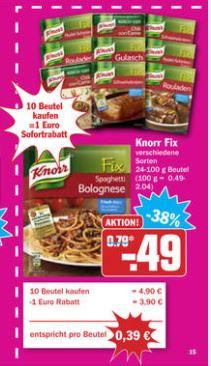 [HIT][Bundesweit] Knorr Fix  Angebot 10 Beutel kaufen - 1 € Rabatt = 0,39 € pro Beutel