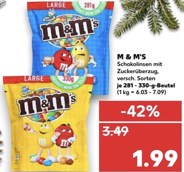 [Kaufland] M&M's 281/330g für 1,99€
