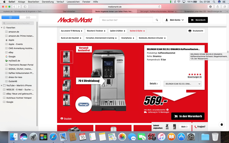 [MediaMarkt] DeLonghi ECAM 350.55 B Dinamica Kaffeevollautomat mit 70 EUR Direktabzug für 499 EUR - schwarz oder silber