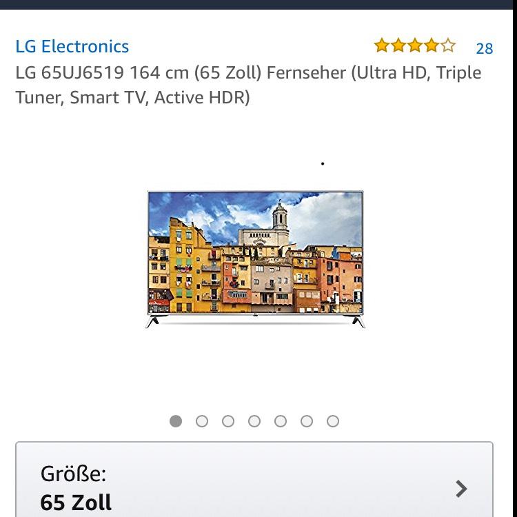 LG 65UJ6519 164 cm (65 Zoll) Fernseher (Ultra HD, Triple Tuner, Smart TV, Active HDR)