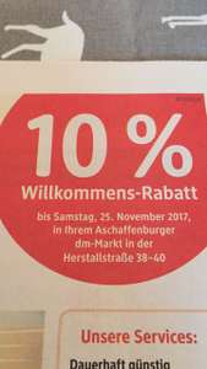 LOKAL - DM Aschaffenburg 10% Rabatt bis 25.11.17