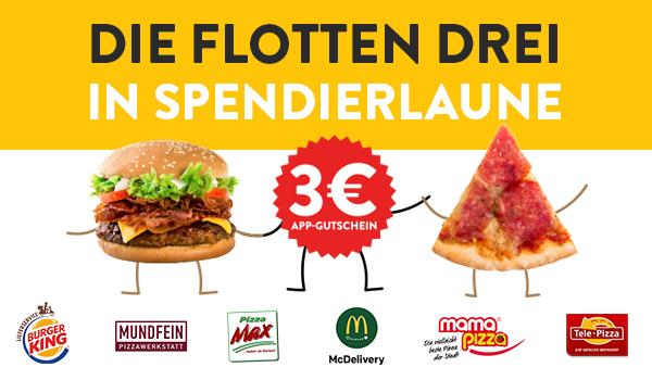 3€ Pizza.de App Gutschein - 10€ MBW - Nur für ausgewählte Lieferdienste, nur Do-So