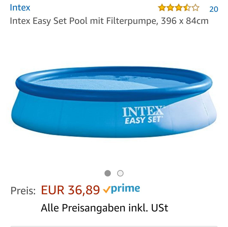Pool bei Amazon für 40,51. Intex Easy Set Pool mit Filterpumpe, 396 x 84cm. WIEDER DA