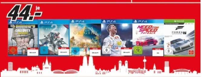 Games für 44 Euro (z.B. Need for Speed Payback, COD WW2, Assassin´s Creed Origins) @ Media Markt Köln (Dom)