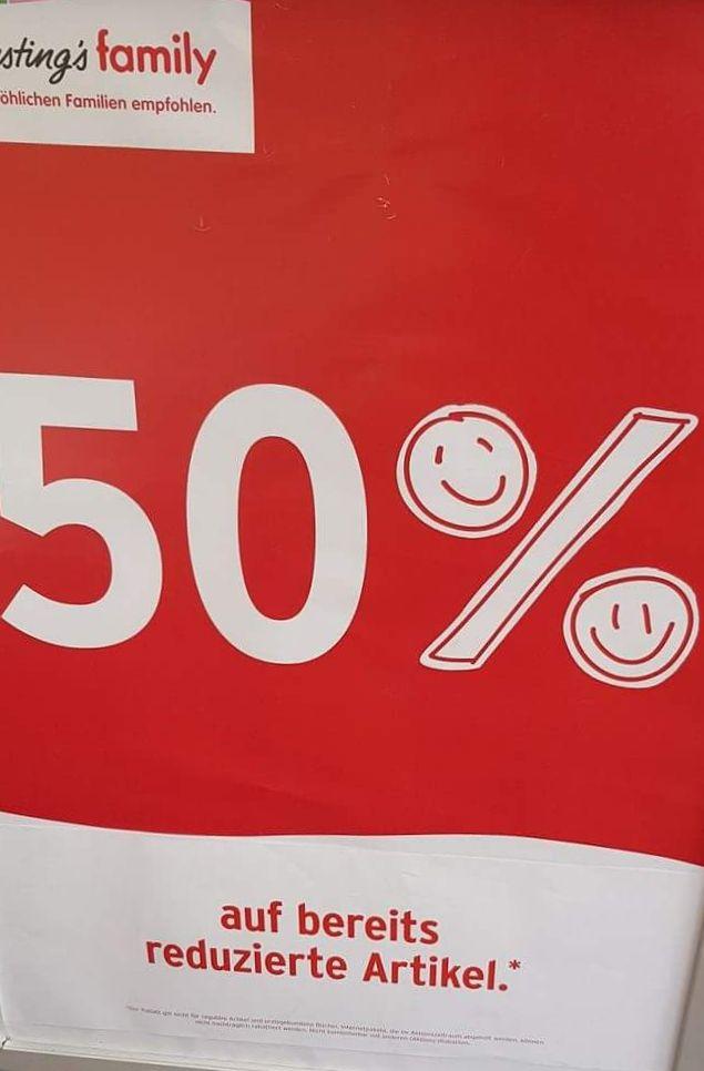 50 Prozent Rabatt auf reduzierte Artikel bei Ernstings Family (offline)