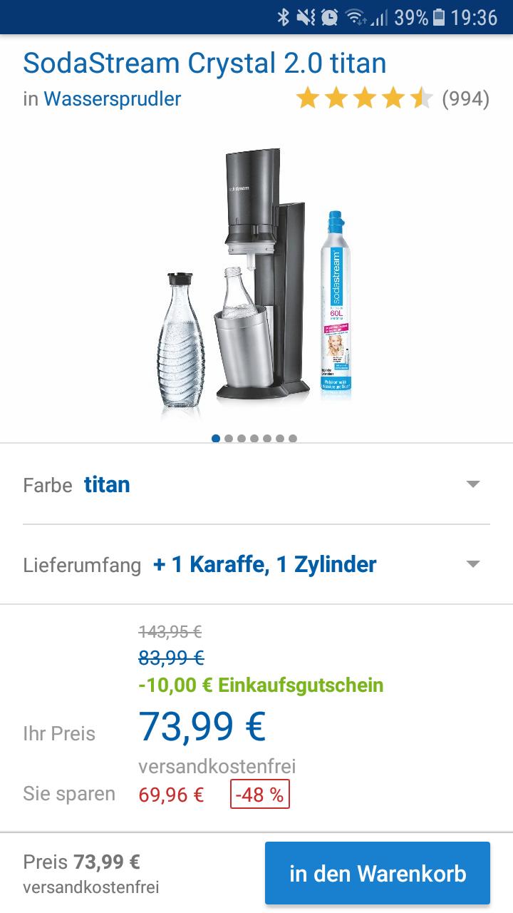 Soda Stream Crystal 2.0 mit Karaffe und Zylinder