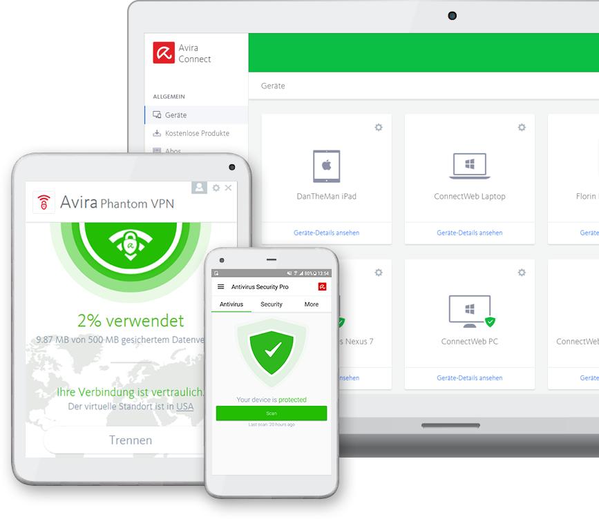 Win / MAC / Android u.a grenzenlosem VPN und alle Premium Produkte von Avira 1 Monat Gratis testen