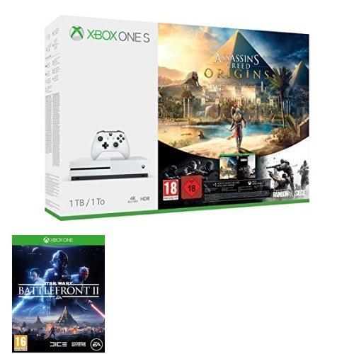 Xbox One S 1TB Konsole: Assassin's Creed Origins + Tom Clancy's Rainbow Six Siege + Star Wars Battlefront 2 für 262€ (Amazon.co.uk)