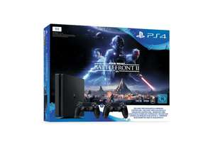 Sony Playstation 4 Slim 1 TB + 2 DualShock 4 Controller + Star Wars Battlefront IIfür 276€ [Real]