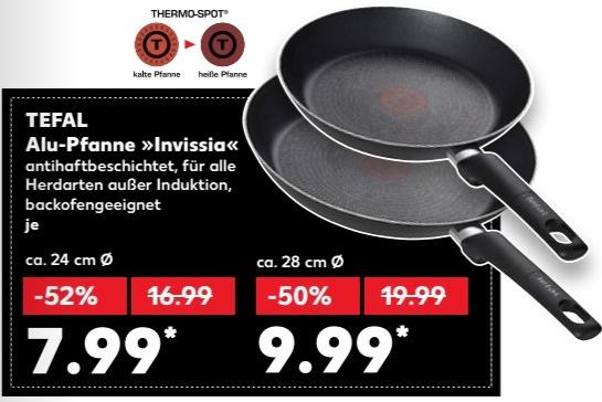 Tefal Alu-Pfanne Invissia mit Thermo-Spot - 24 cm für 7,99 € / 28 cm für 9,99 € @ [Kaufland bundesweit ab 23.11]