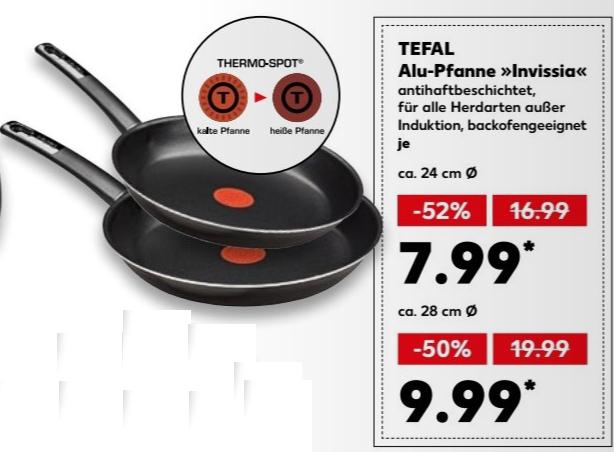 Tefal Alu-Pfanne Invissia mit Thermo-Spot - 24 cm für 7,99 € / 28 cm für 9,99 € @ [Kaufland bundesweit ab 08.03.]