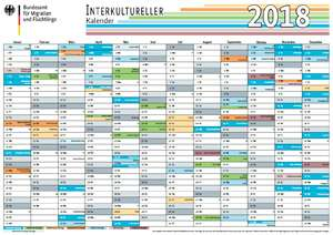 "DIN A3 Jahresplaner ""Interkultureller Kalender 2018"" @BAMF"