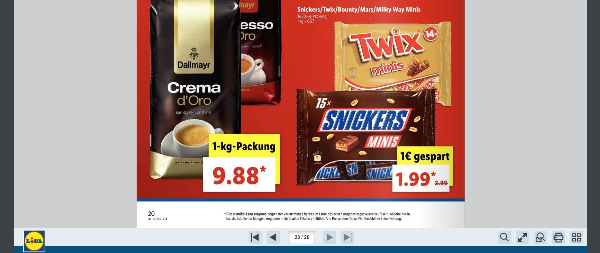 (LIDL) am 24. und 25.11 Snickers,Twix,Bounty,Mars und Milky Way Minis je 303g Pckg nur 1,99€