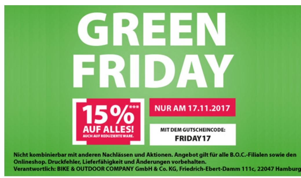 Green Friday bei BOC - 15% auf Alles