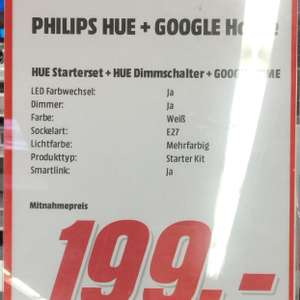 [Lokal] Philips Hue Starter Set E27 Color + Dimmer + GoogleHome [MM Magdeburg Bördepark]