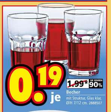 [lokal] Segmüller Weiterstadt: Caipirinha-Gläser für 0,19 €
