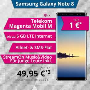 Telekom Magenta Mobil M (Normal & Young) + Samsung Galaxy Note 8 oder Apple iPhone 8 für 1€ Zuzahlung