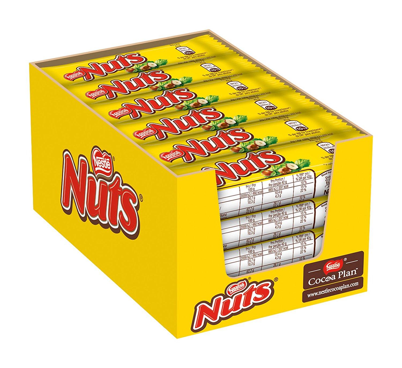 [Amazon] Nestle Nuts Schoko-Riegel (mit ganzen Haselnüssen, Karamell-Füllung, Milch-Schokolade) 24er Pack (24 x 42g) großpackung