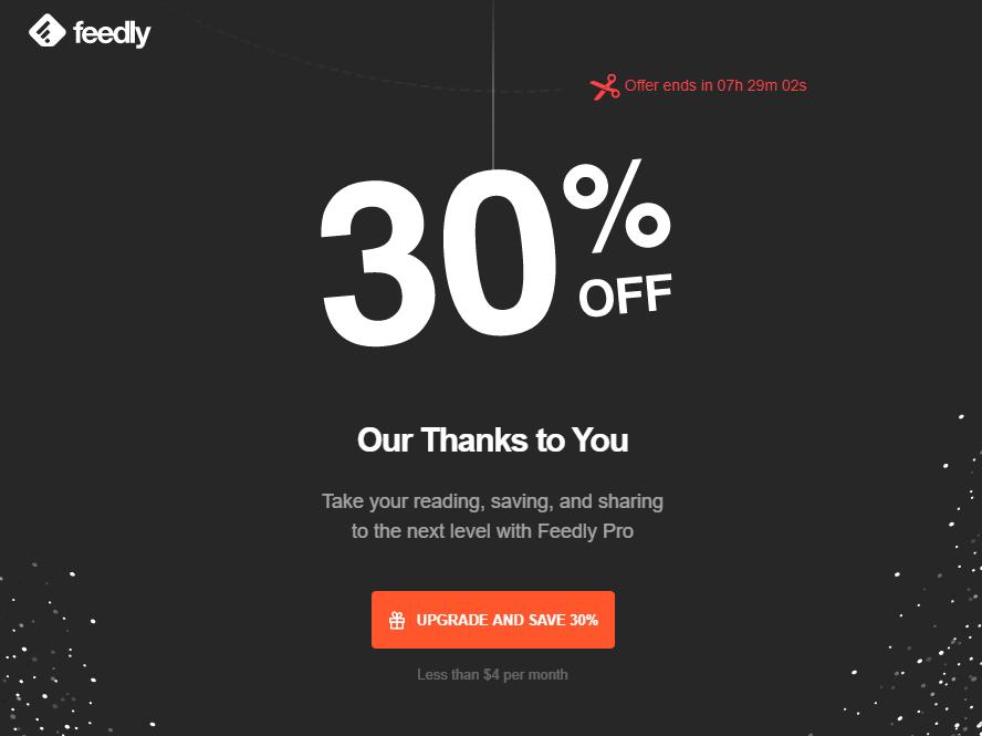 Feedly Premium Abo (25% + 30% Rabatt)