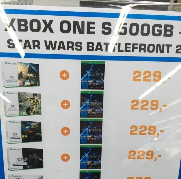 Lokal Hamburg: XBox One S Bundles ab 179,-€ + Star Wars BF 2 für 229,-€