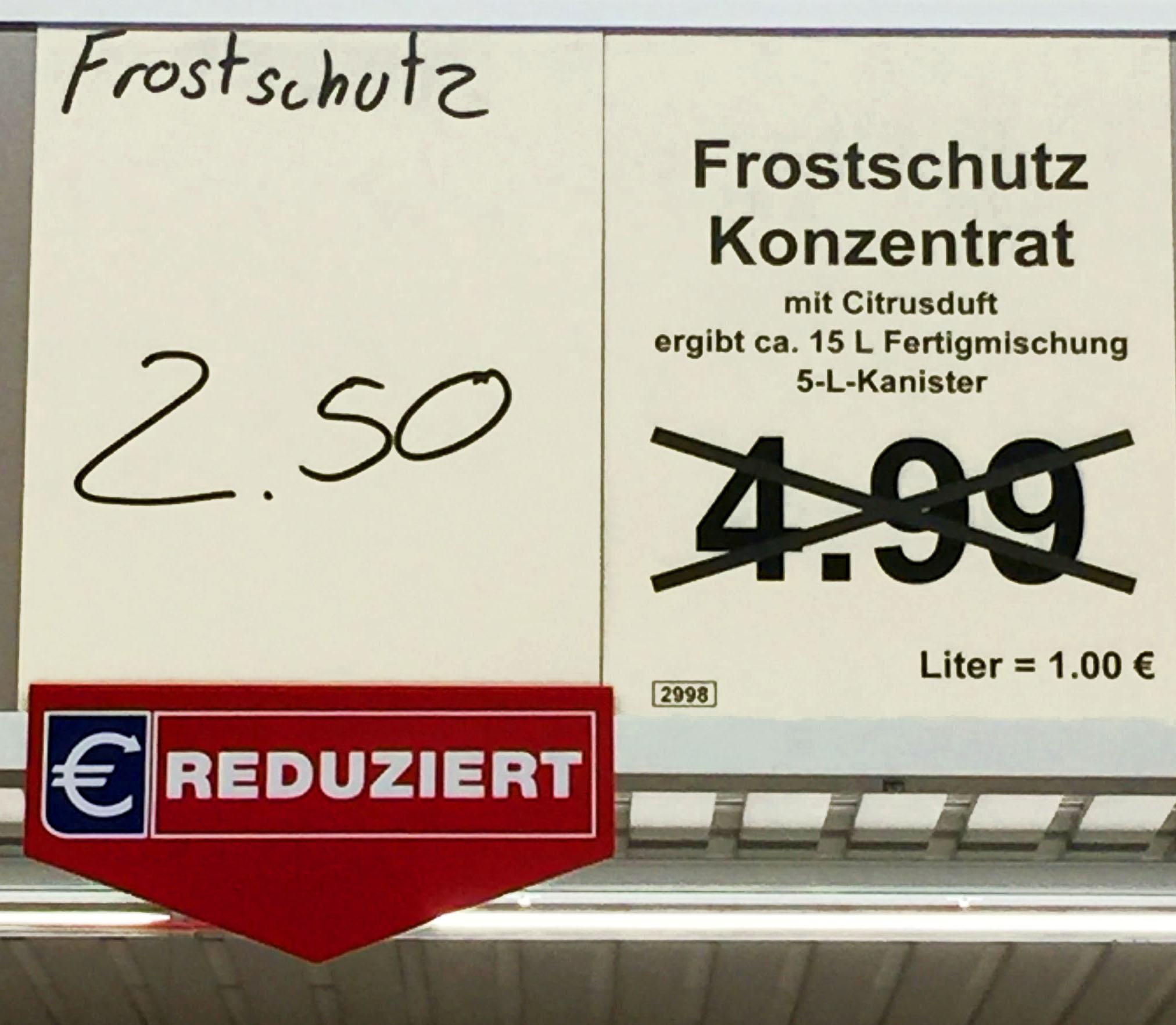 (Lokal in Essen) Scheibenfrostschutz bis -60 Grad, 5 Liter für 2,50€