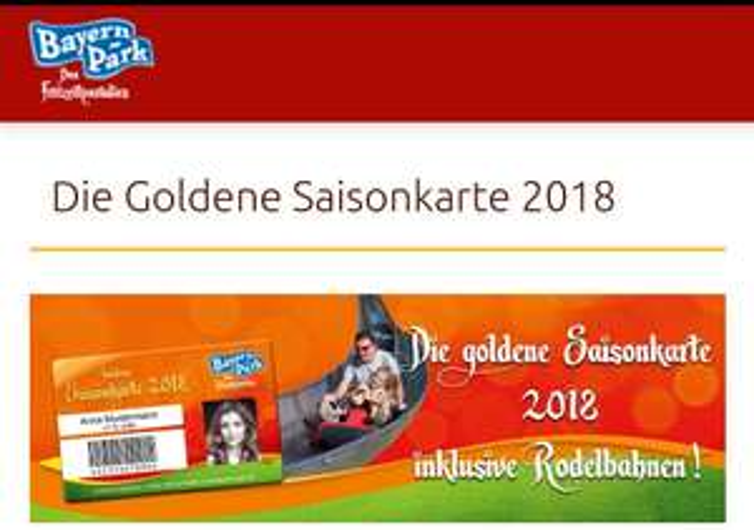 Die goldene Saisonkarte 2018 Bayernpark