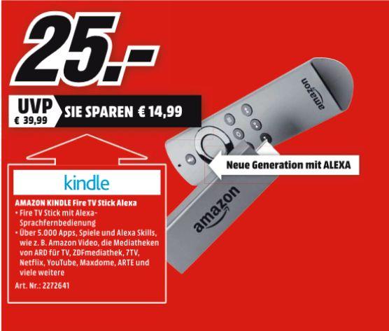 [Regional Mediamarkt Plauen ab 22.11] Amazon Fire-TV Stick Version 2 Alexa Sprachfernbedienung für 25,-€