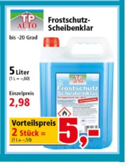 [Thomas Philipps] Frostschutz 5l je 2,98 oder 2x 5l für 5€ bis -20 Grad